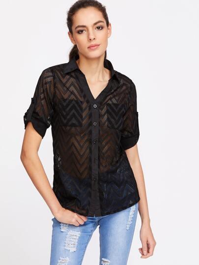 Black Chevron Pattern Fishnet Lace Shirt