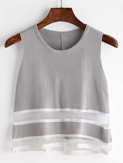 Grey Sheer Mesh Insert Slit Back Knit Tank Top