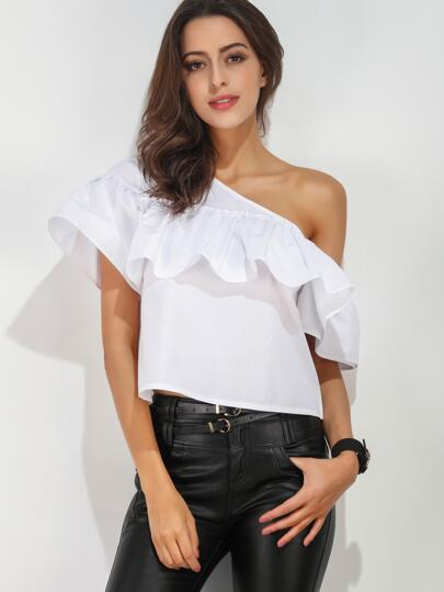 Oblique Shoulder Ruffle Trim Top