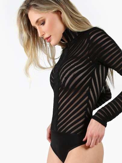 Long Sleeve Sheer Textered Bodysuit BLACK