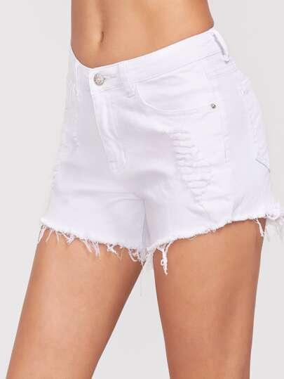short en jean effiloché - Blanc