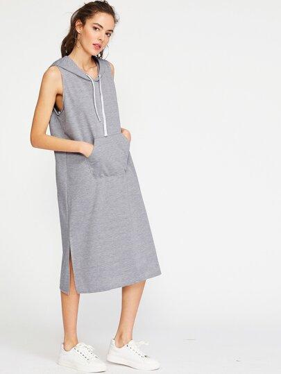 Vestido de capucha con abertura lateral - gris