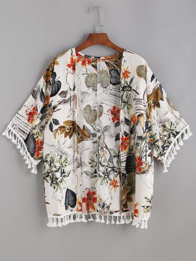 Kimono con estampado tropical y bajo con flecos