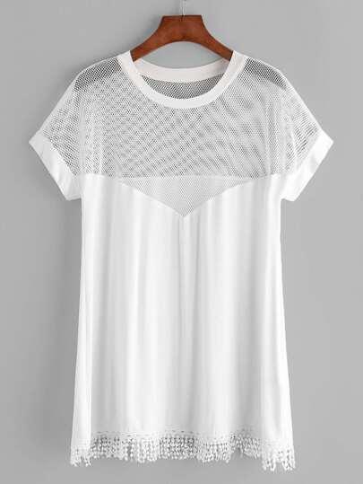 Camiseta con hombros de malla ribete con flecos - blanco