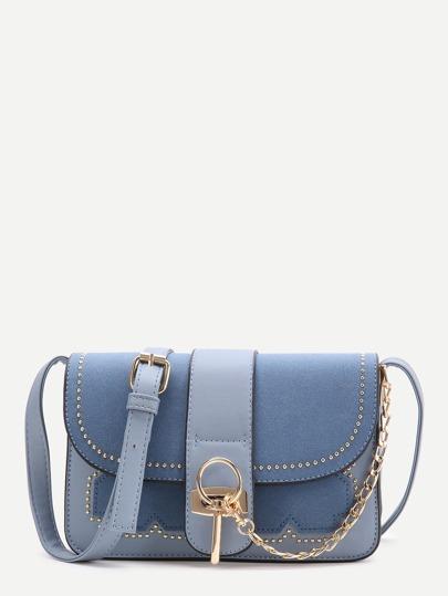 Blue Studded PU Crossbody Bag