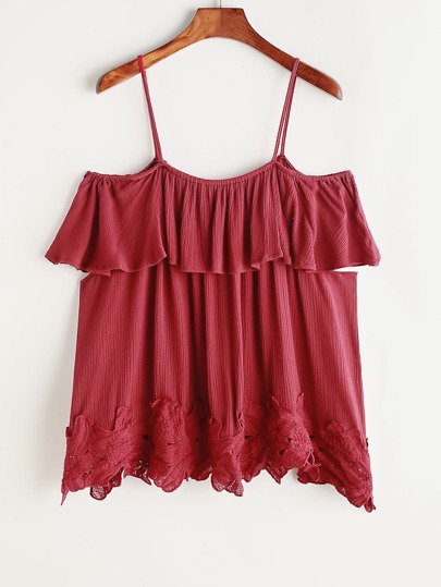Burgundy Cold Shoulder Contraste Crochet Hem Ruffle Top