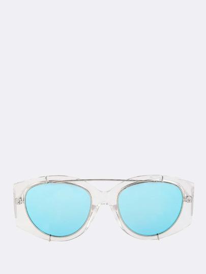Reflective Wayfarer Clear Sunnies BLUE