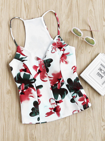 Floral Racerback Tailored Peplum Cami Top