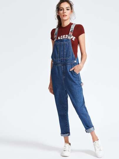 Blue Denim Overall-Kleid mit Aufdruck