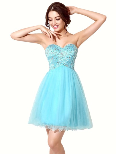 Sky Blue Rhinestone Embellished Sweetheart Bridesmaid Dress