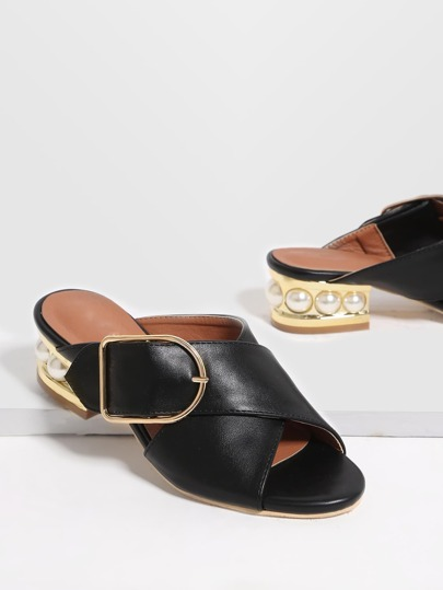 Black Buckle PU Chunky Heeled Sandals