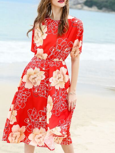 Red Flowers Print A-Line Dress