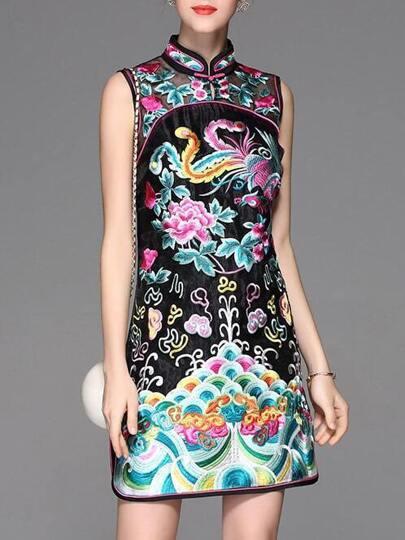 Black Organza Vintage Embroidered Sheath Dress