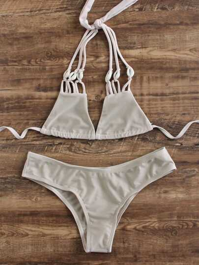 Khaki Strappy Triangle Bikini Set