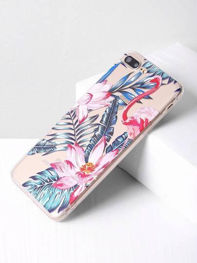 Cover per iphone 7plus con stampa di fiore e foglia
