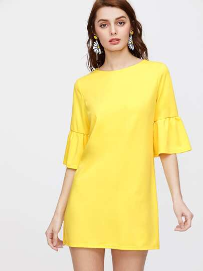 Yellow Elbow Sleeve Ruffle Tunic Dress