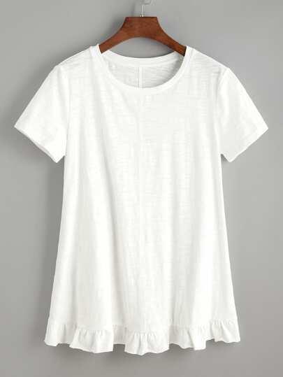 Camiseta bajo con volantes - blanco
