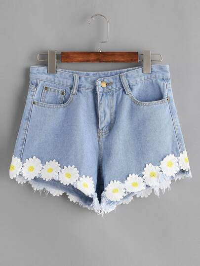 Hellblaue Applikationen Jeans Shorts