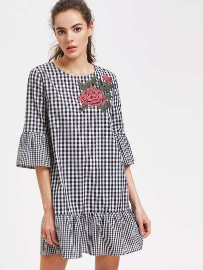 Embroidered Rose Applique Ruffle Trim Checkered Dress