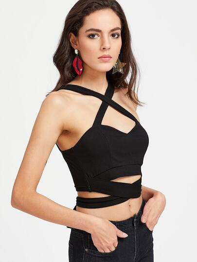 Crisscross Wrap Sweetheart Crop Tank Top