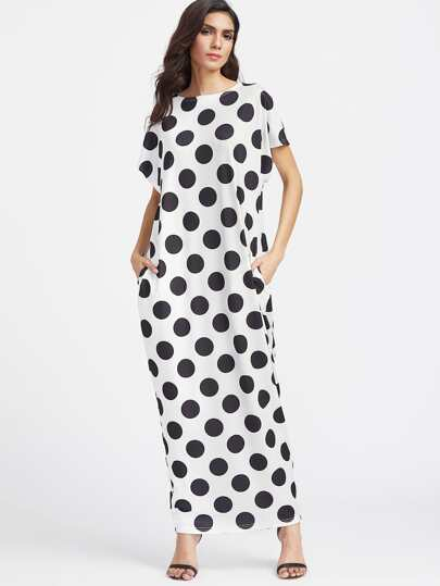 Textured Dots Pocket Side Cocoon Dress