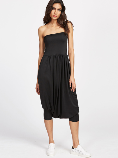Black 2 In 1 Pantaloni Harem tuta