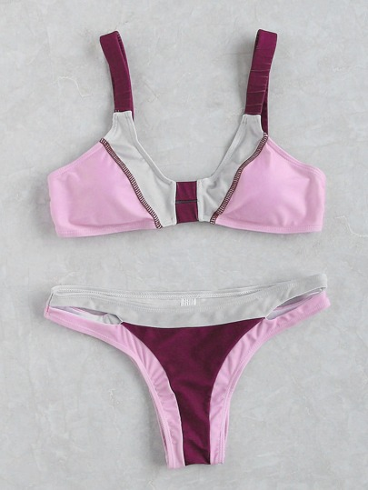 Pink Color Block Cutout Detail Bikini Set