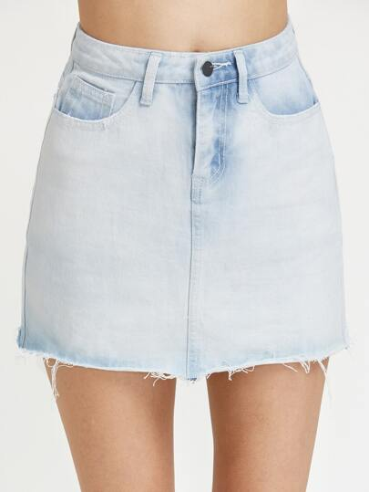 Bleach Wash Raw Hem Mini Denim Skirt