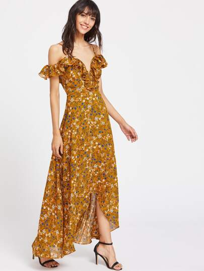 Frill Cold Shoulder Calico Print Plunge Wrap Dress