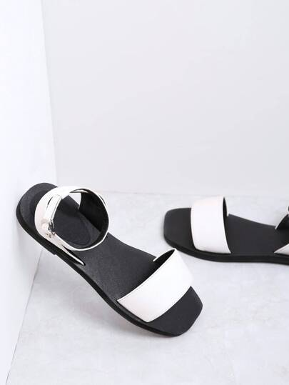 White Ankle Strap PU Flat Sandals