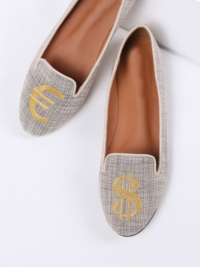 Apricot Dollar Embroidery Ballet Flats