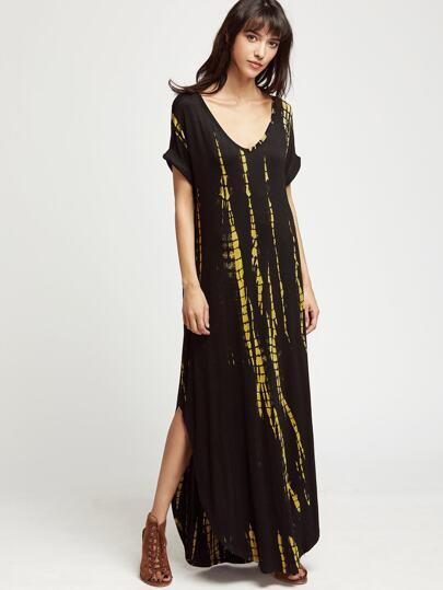 Vestido con estampado tie dye con cuello en V - negro