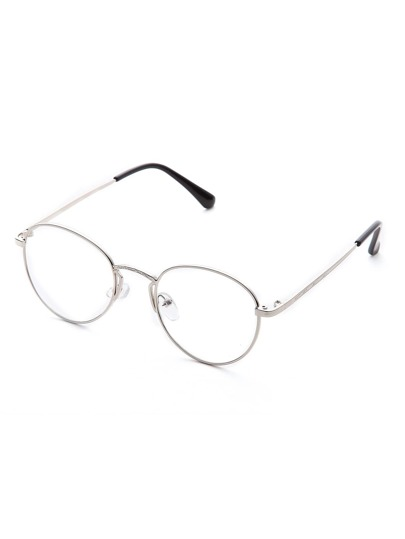 Silver Clear Lens Round Glasses