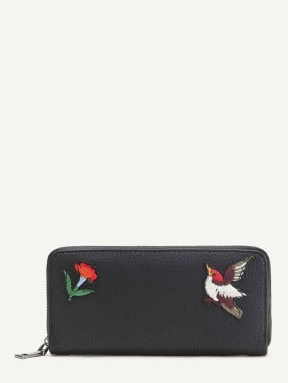 Schwarze Vogelstickerei Strukturierte Brieftasche