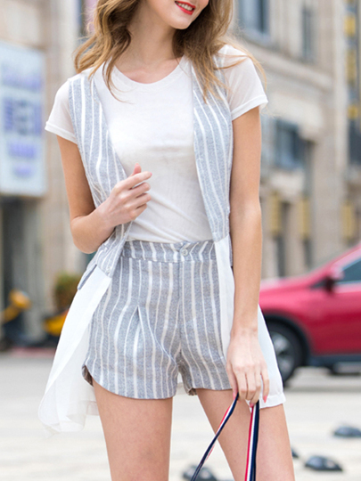 White T-Shirt Vest Top With Striped Shorts