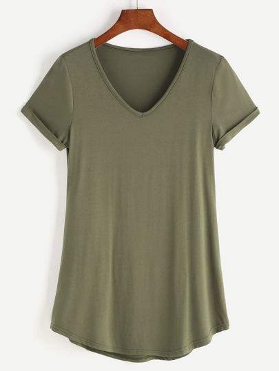 Camiseta con escote en V con manga enrollada