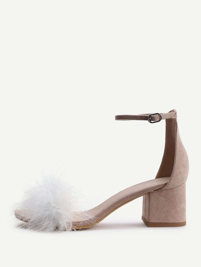 Apricot Faux Fur Ankle Strap Chunky Heeled Sandals