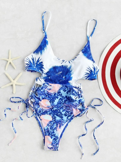 Blue Printed Lace Up One-Piece Swimwear