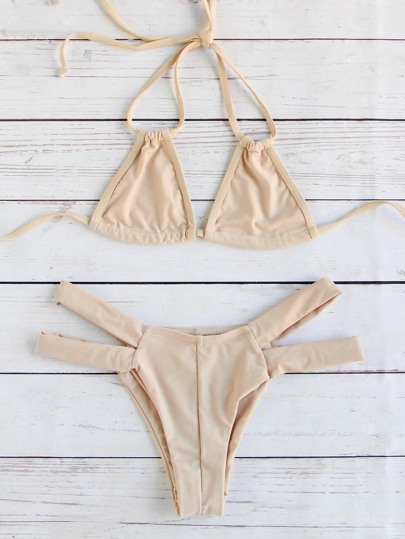 Apricot Cutout Design Triangle Bikini Set