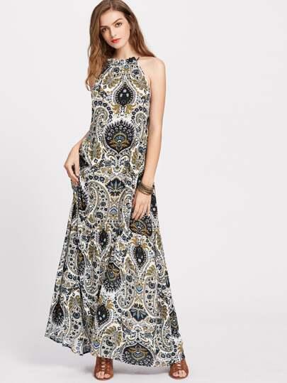 Paisley Print Tiered Halter Maxi Dress
