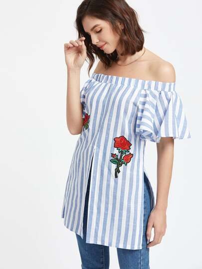 Off The Shoulder Vertical Striped Embroidered Slit Hem Top