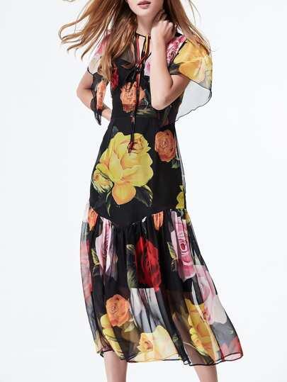 Black Tie Neck Flowers Print Two-pieces Dress