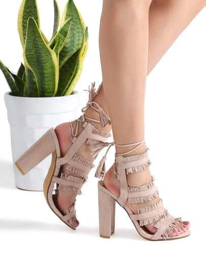 Nude Fringe Trim Tie Back High Heeled Sandals