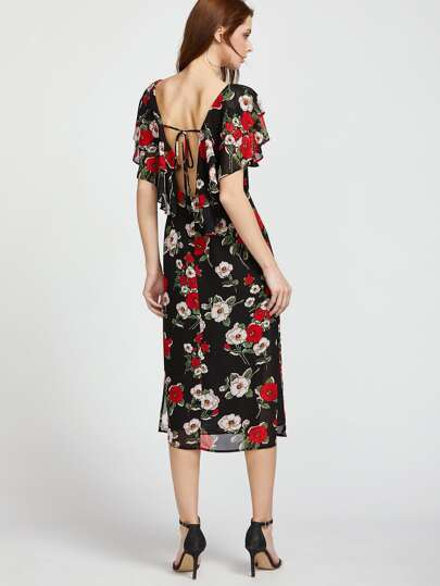 Flower Print Cape Collar Tied V Back Dress