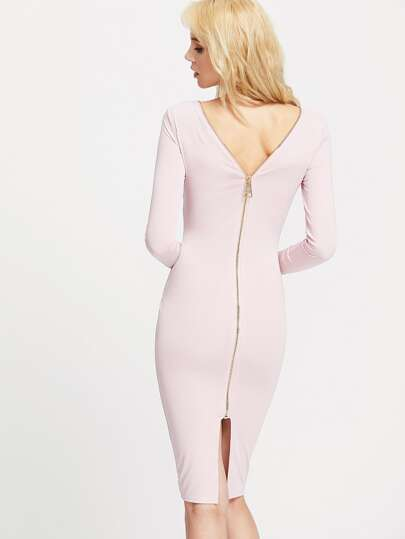 Pink Zipper Back Pencil Dress