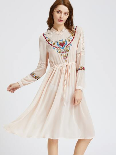 Apricot Embroidery Crochet Insert Tie Waist Dress