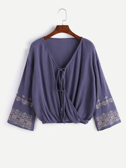 V Neck Tie Front Embroidered Wrap Blouse