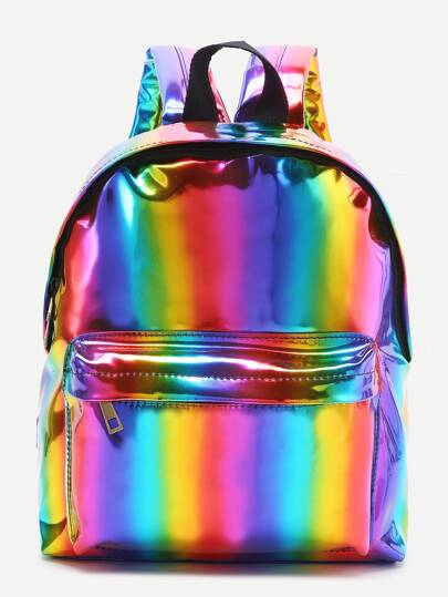 Multicolor Front Pocket PU Backpack