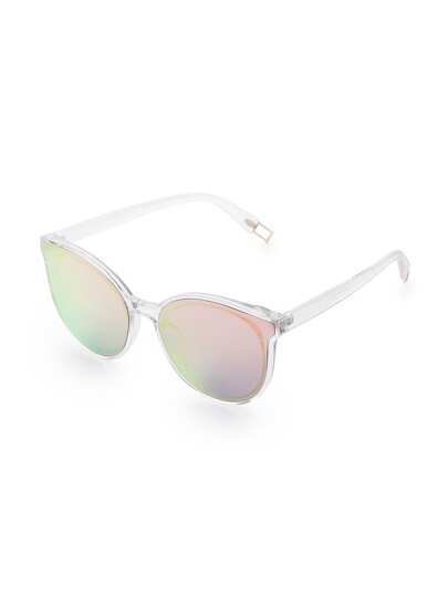 Clear Frame Pink Lens Sunglasses