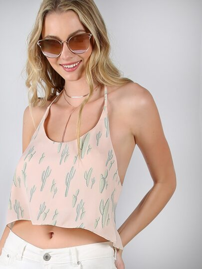 Cropped Chiffon Halter Top BLUSH